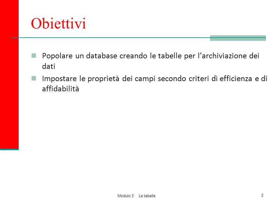 Obiettivi Popolare un database creando le tabelle per l'archiviazione dei dati.