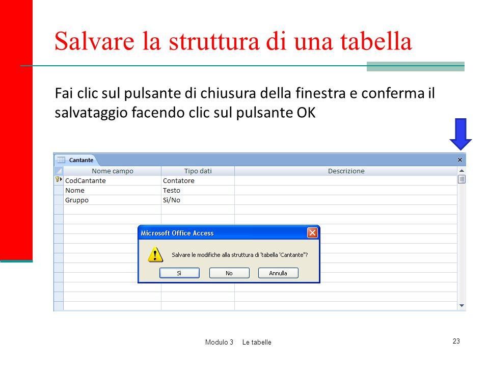Salvare la struttura di una tabella
