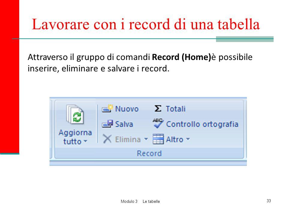 Lavorare con i record di una tabella