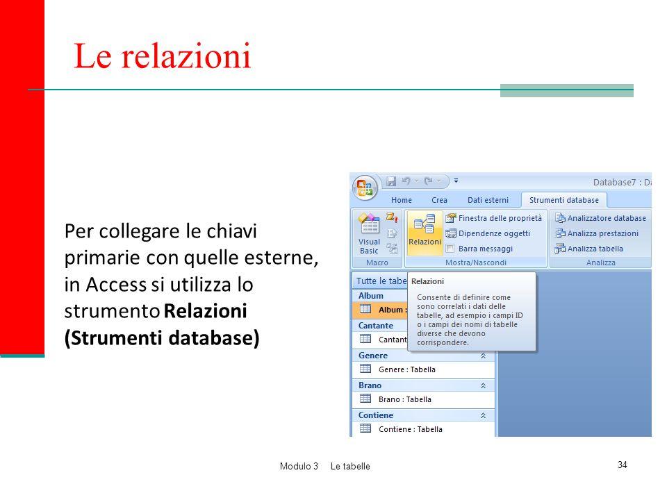 Le relazioni Per collegare le chiavi primarie con quelle esterne, in Access si utilizza lo strumento Relazioni (Strumenti database)