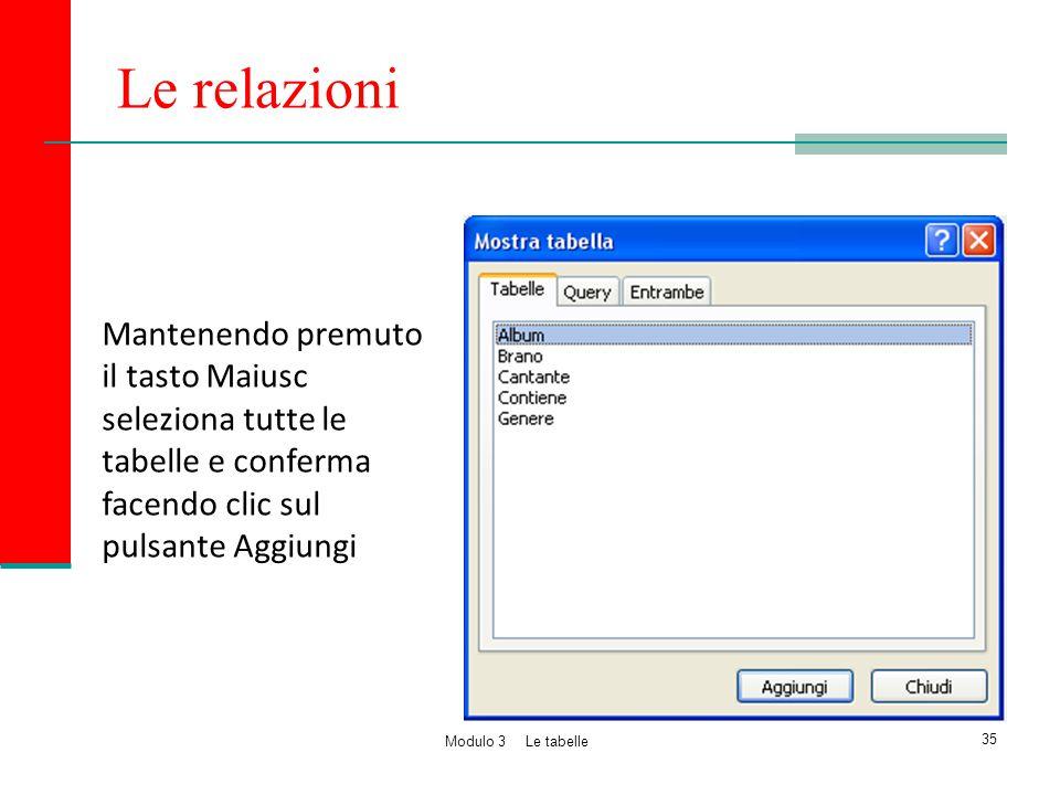 Le relazioni Mantenendo premuto il tasto Maiusc seleziona tutte le tabelle e conferma facendo clic sul pulsante Aggiungi.