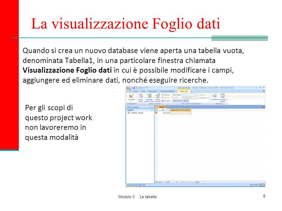 La visualizzazione Foglio dati