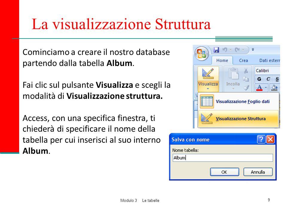 La visualizzazione Struttura