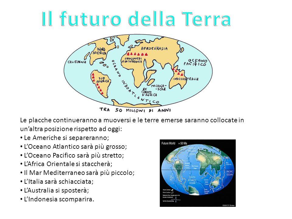 Il futuro della Terra Le placche continueranno a muoversi e le terre emerse saranno collocate in un'altra posizione rispetto ad oggi: