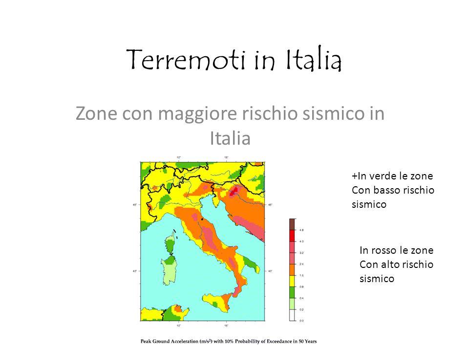 Zone con maggiore rischio sismico in Italia