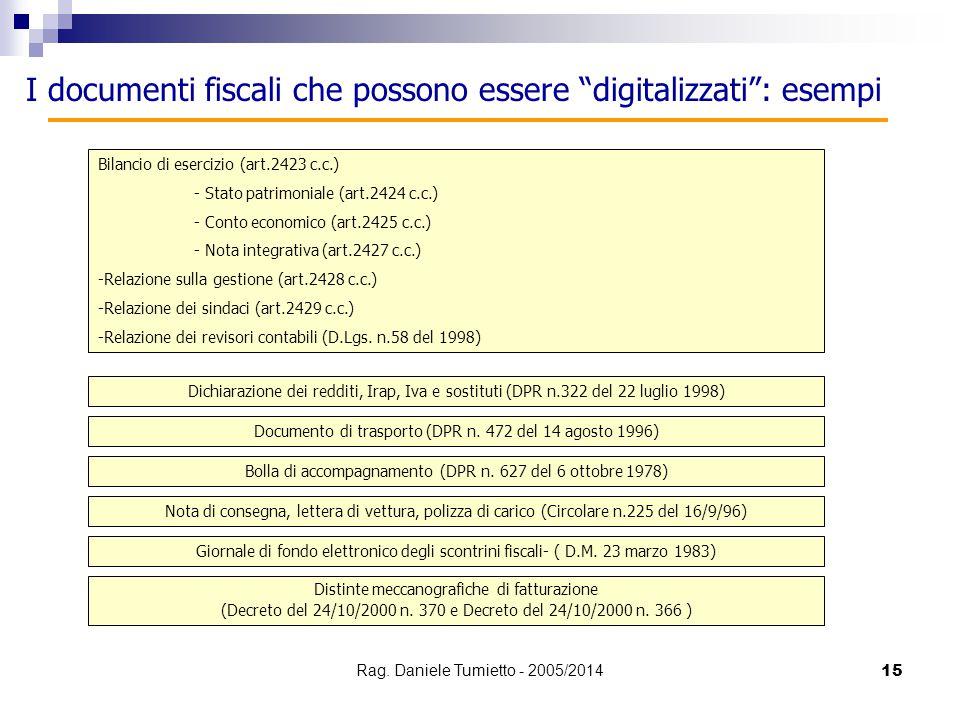 I documenti fiscali che possono essere digitalizzati : esempi