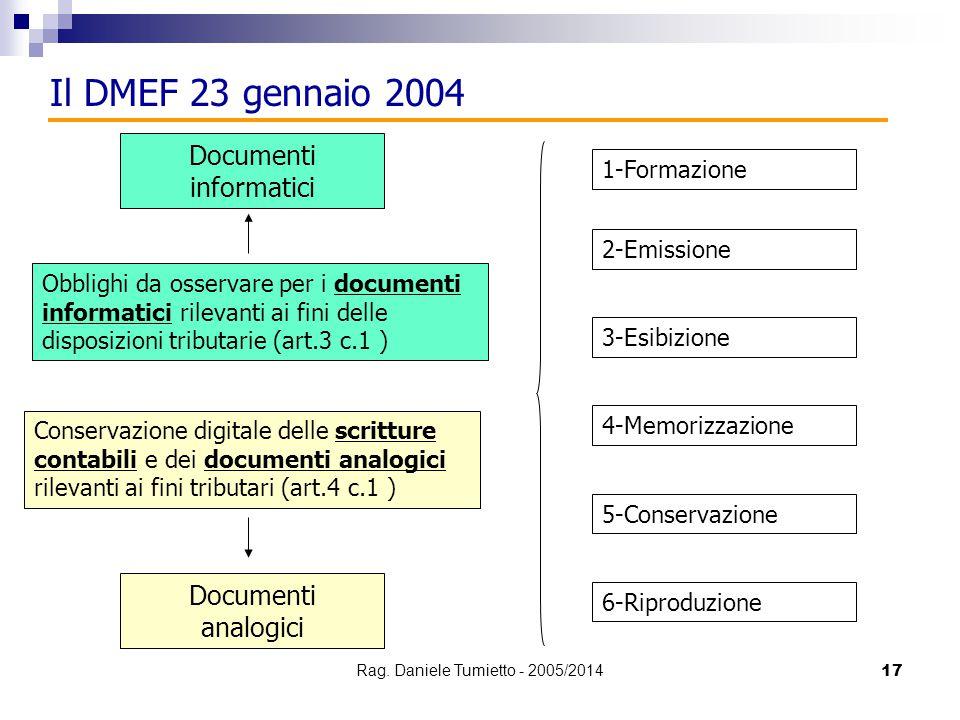 Il DMEF 23 gennaio 2004 Documenti informatici Documenti analogici