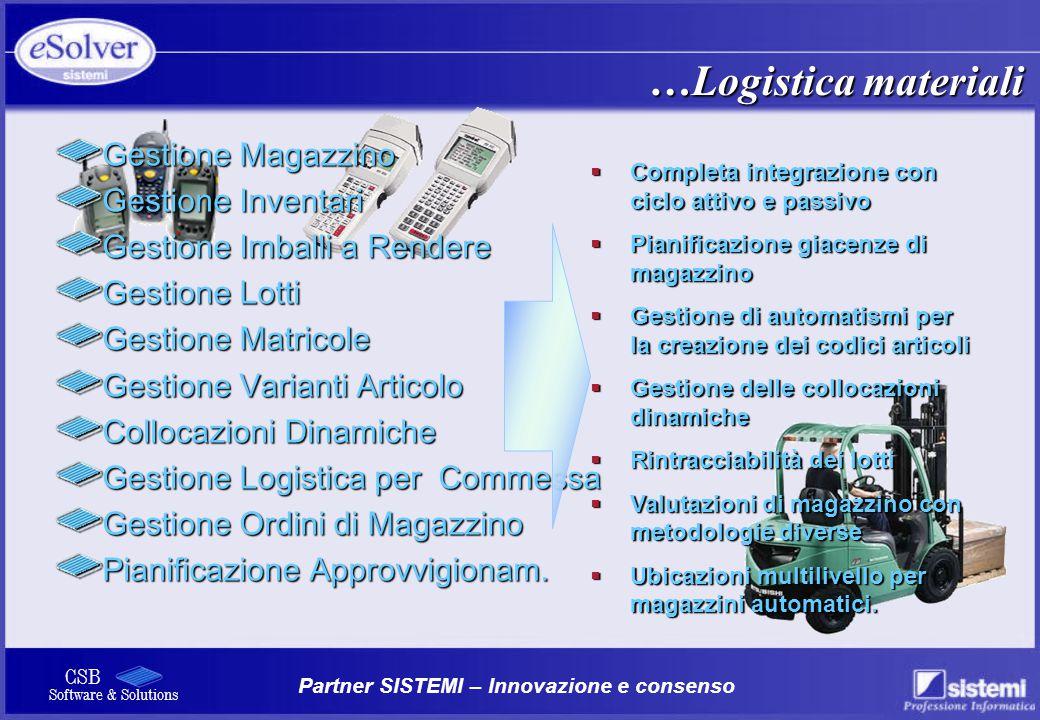 …Logistica materiali Gestione Magazzino Gestione Inventari