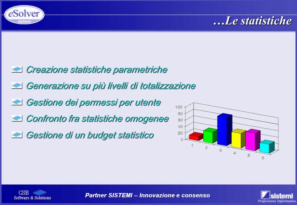 …Le statistiche Creazione statistiche parametriche