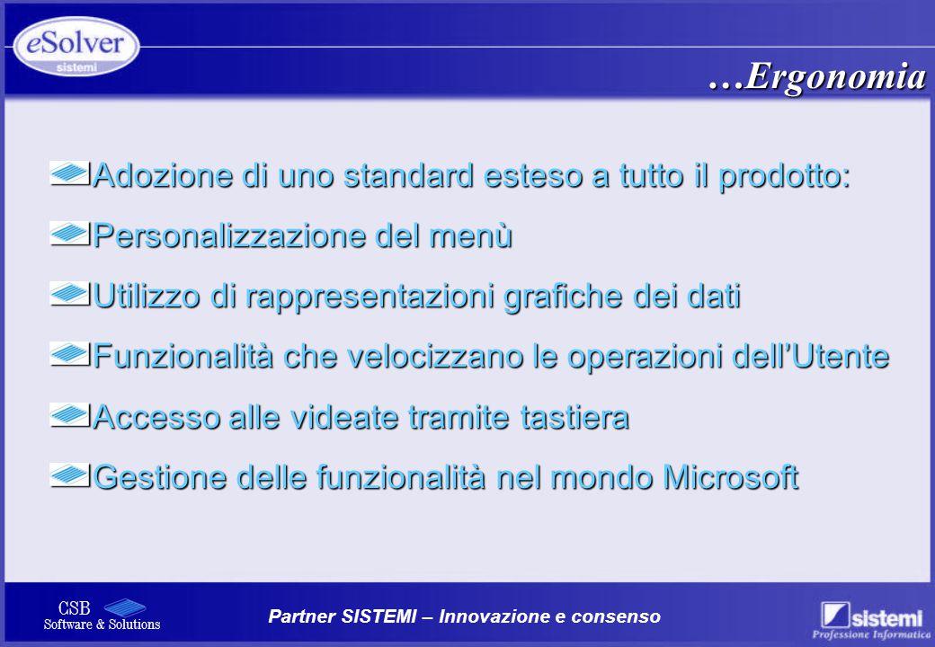 …Ergonomia Adozione di uno standard esteso a tutto il prodotto: