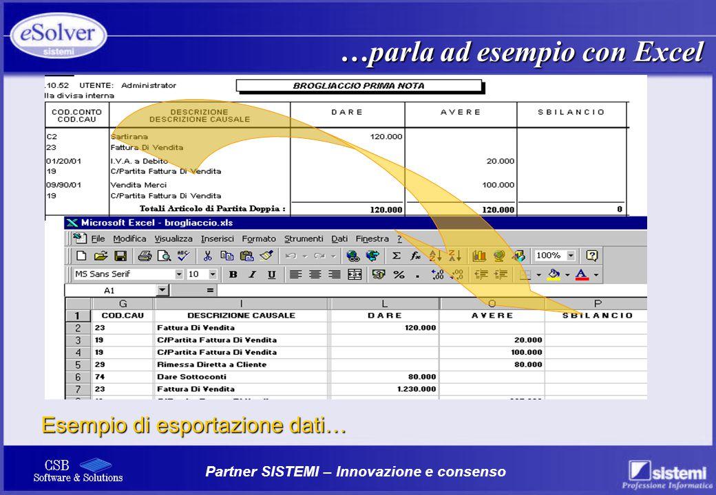 …parla ad esempio con Excel