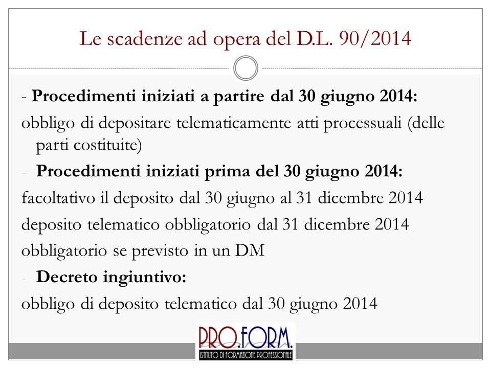 Le scadenze ad opera del D.L. 90/2014