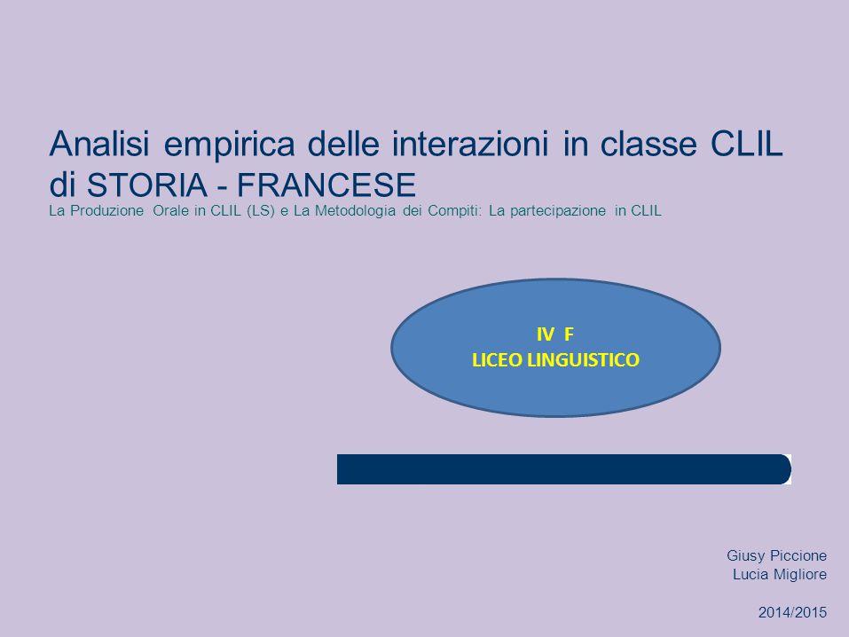 Analisi empirica delle interazioni in classe CLIL di STORIA - FRANCESE