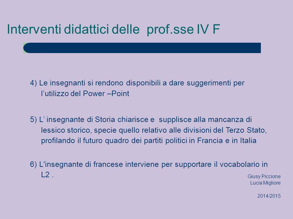 Interventi didattici delle prof.sse IV F