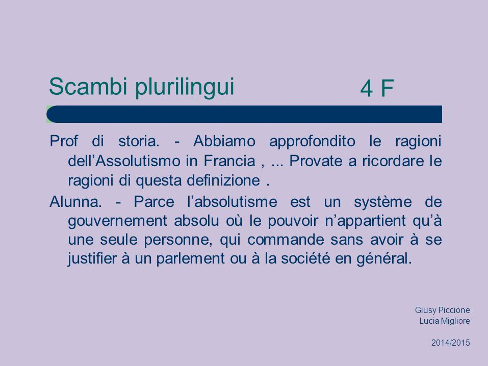 Scambi plurilingui 4 F.
