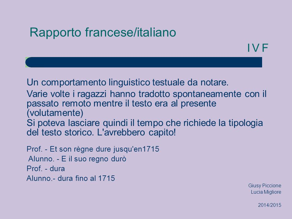 Rapporto francese/italiano IVF