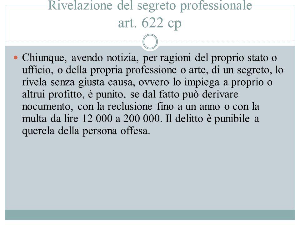Rivelazione del segreto professionale art. 622 cp