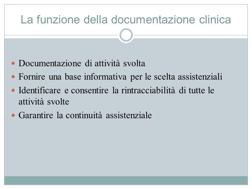 La funzione della documentazione clinica