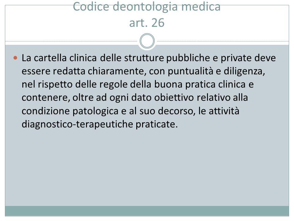 Codice deontologia medica art. 26