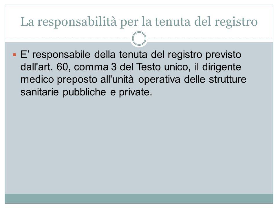 La responsabilità per la tenuta del registro