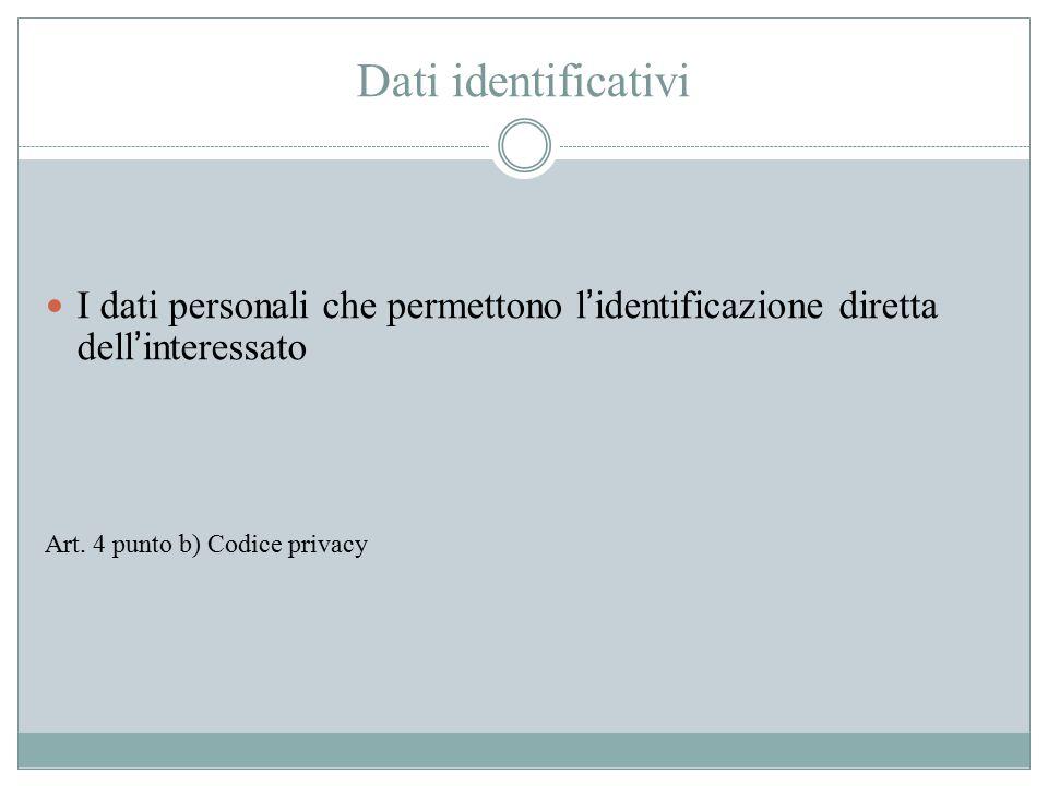Dati identificativi I dati personali che permettono l'identificazione diretta dell'interessato.