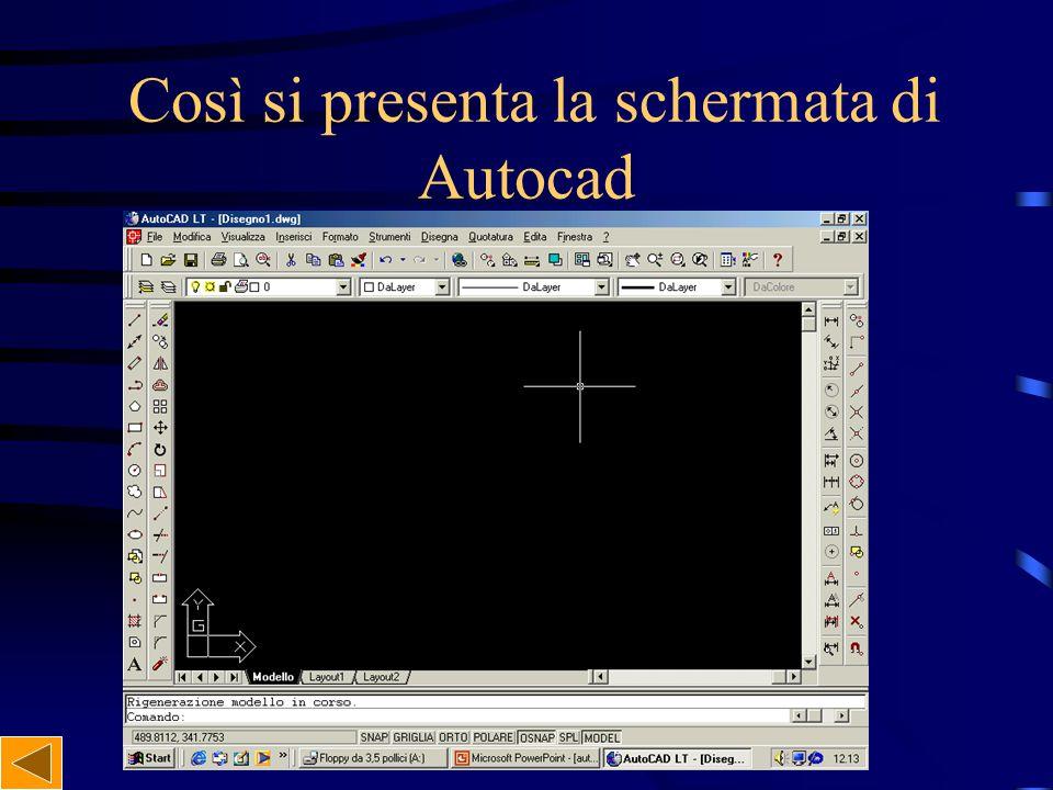 Così si presenta la schermata di Autocad