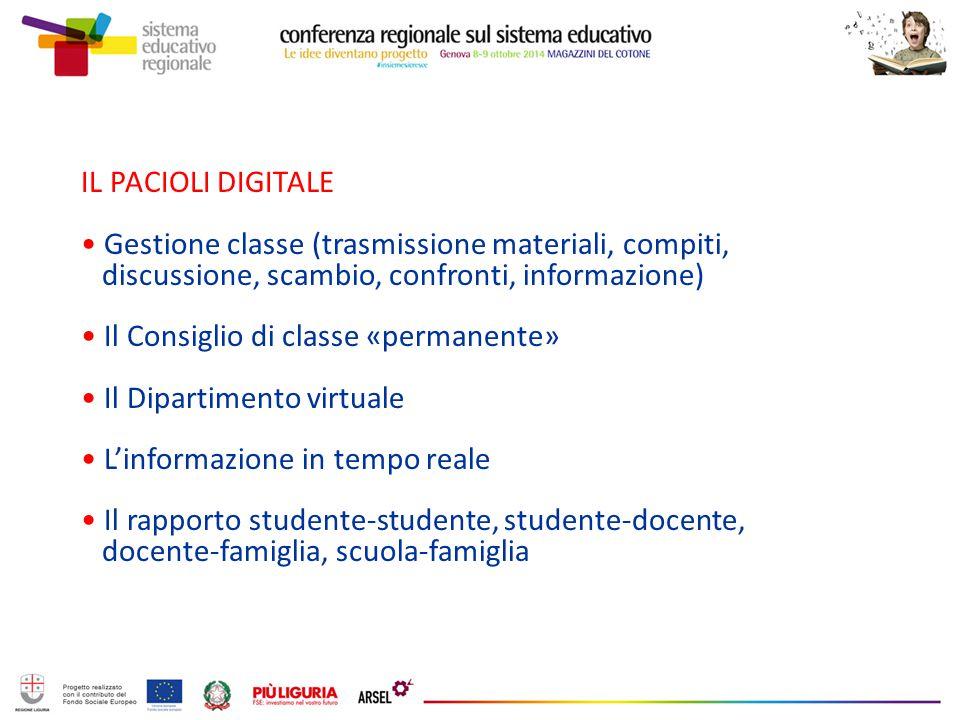 IL PACIOLI DIGITALE Gestione classe (trasmissione materiali, compiti, discussione, scambio, confronti, informazione)