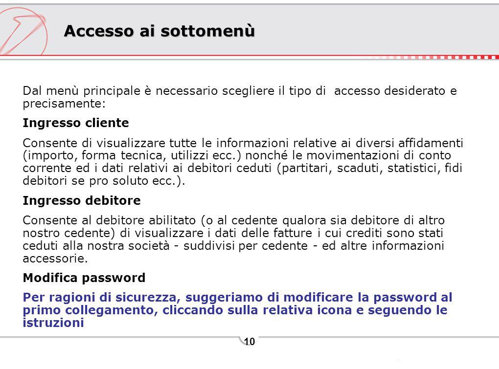 Accesso ai sottomenù Dal menù principale è necessario scegliere il tipo di accesso desiderato e precisamente: