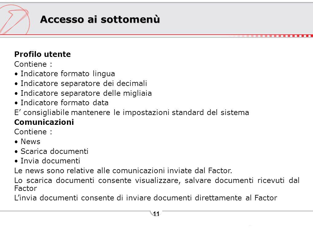 Accesso ai sottomenù Profilo utente Contiene :