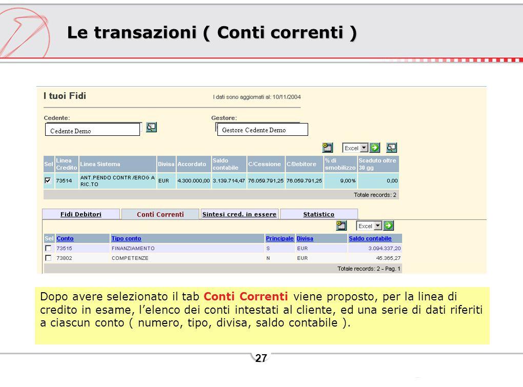 Le transazioni ( Conti correnti )