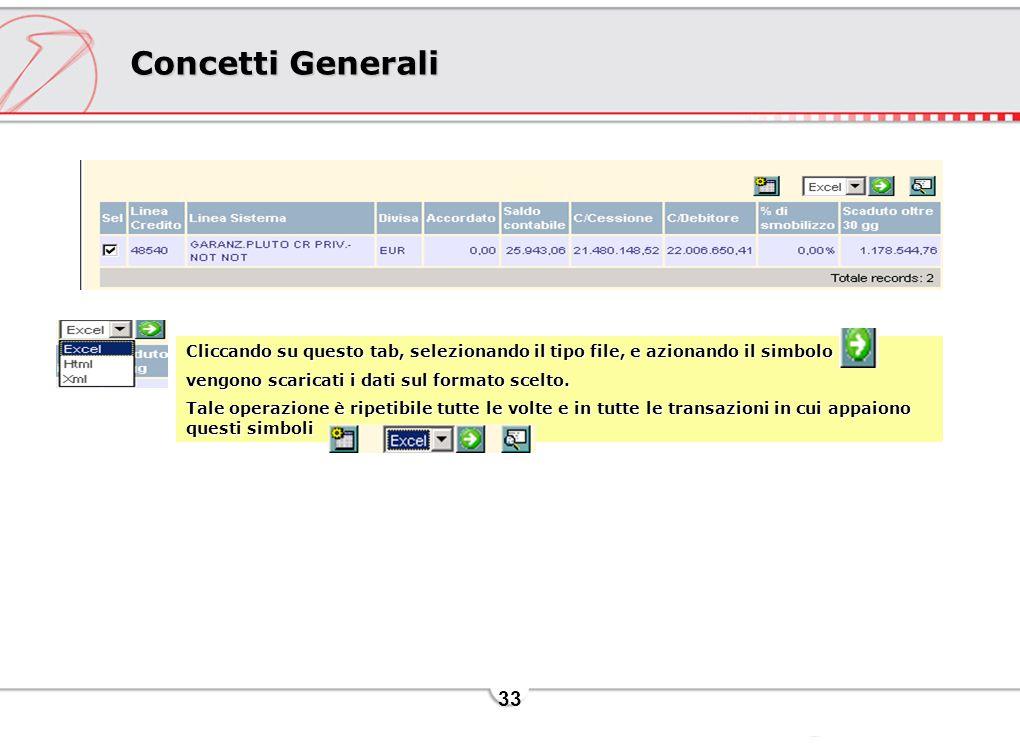 Concetti Generali Cliccando su questo tab, selezionando il tipo file, e azionando il simbolo. vengono scaricati i dati sul formato scelto.
