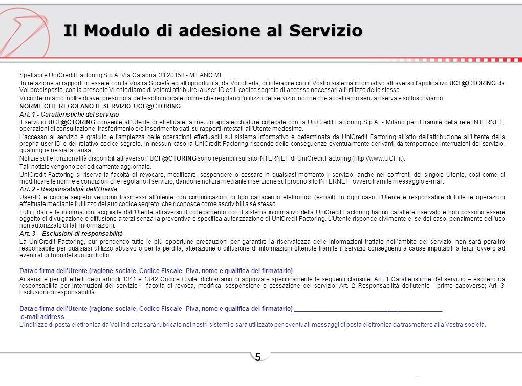 Il Modulo di adesione al Servizio