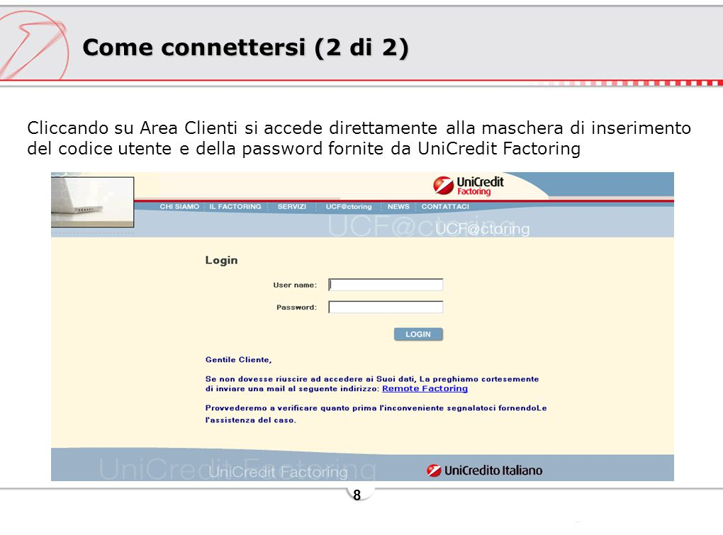 Come connettersi (2 di 2)