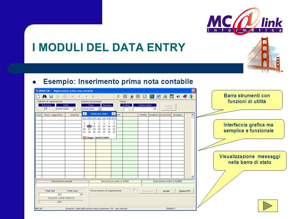 I MODULI DEL DATA ENTRY Esempio: Inserimento prima nota contabile