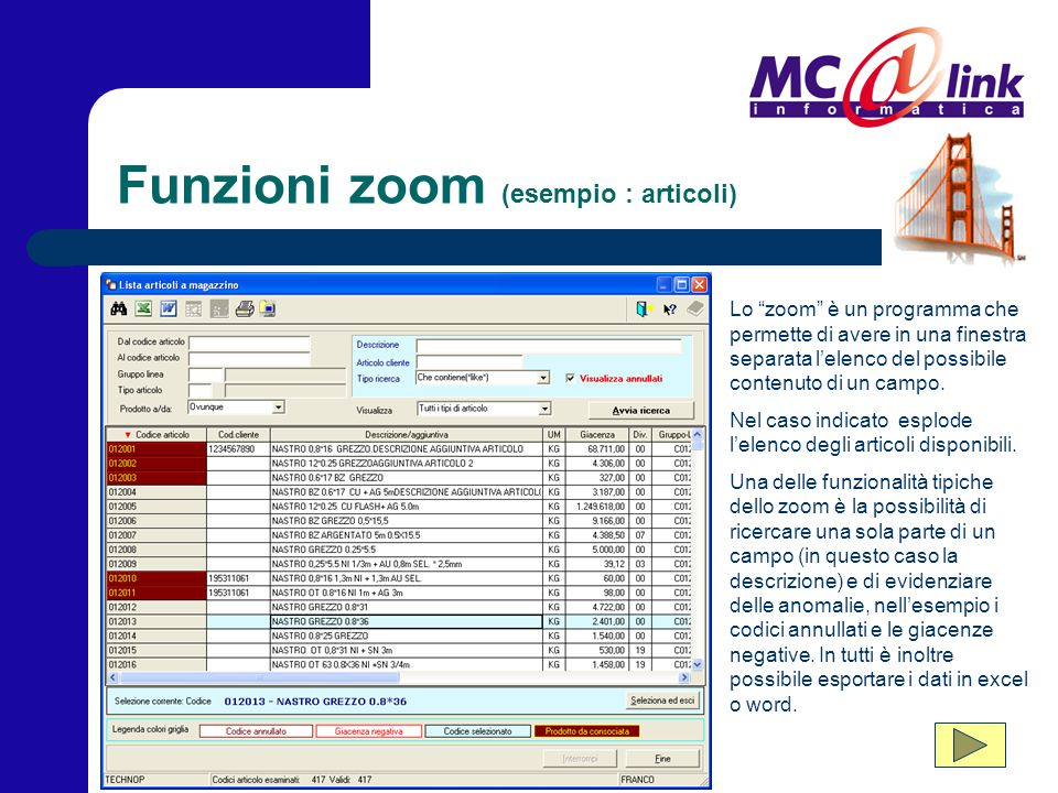 Funzioni zoom (esempio : articoli)