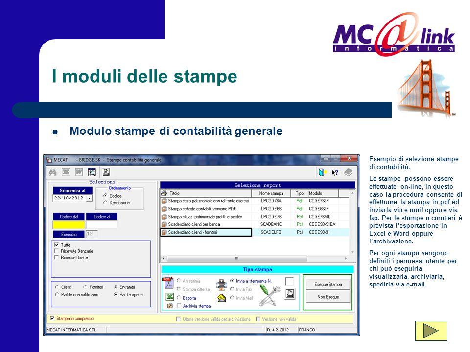 I moduli delle stampe Modulo stampe di contabilità generale