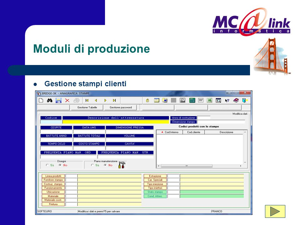 Moduli di produzione Gestione stampi clienti
