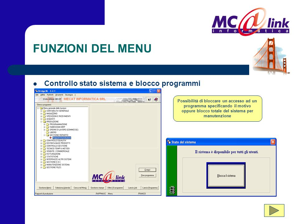 FUNZIONI DEL MENU Controllo stato sistema e blocco programmi