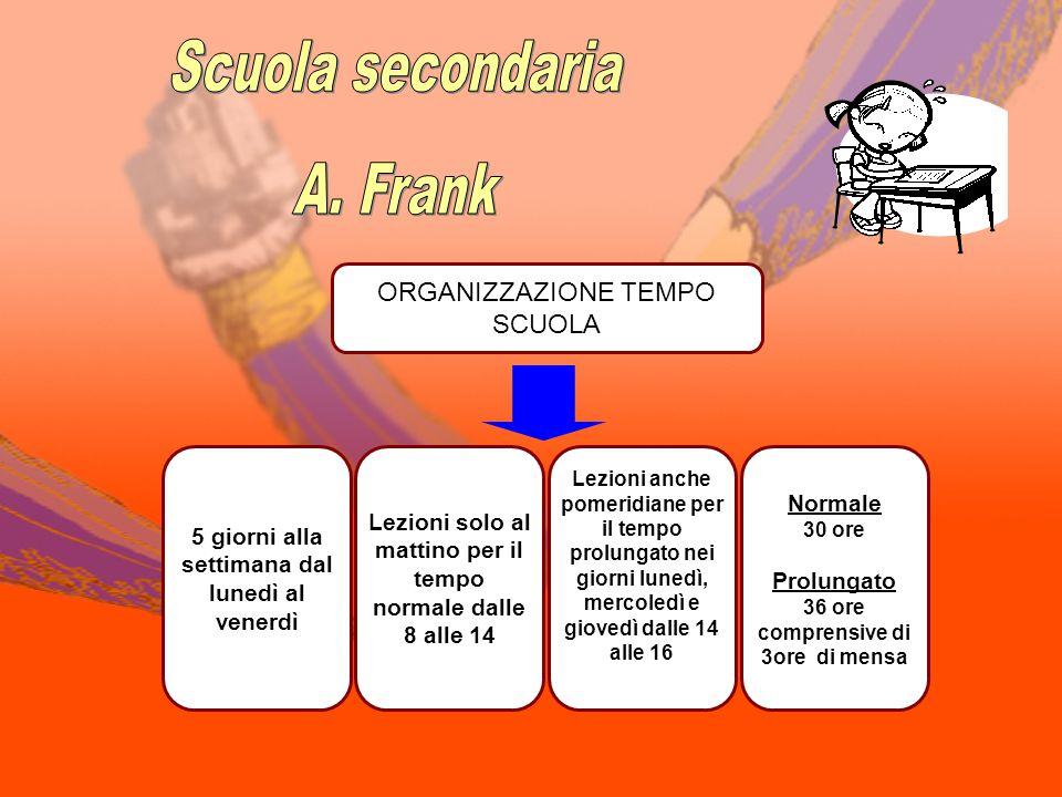 Scuola secondaria A. Frank ORGANIZZAZIONE TEMPO SCUOLA Normale