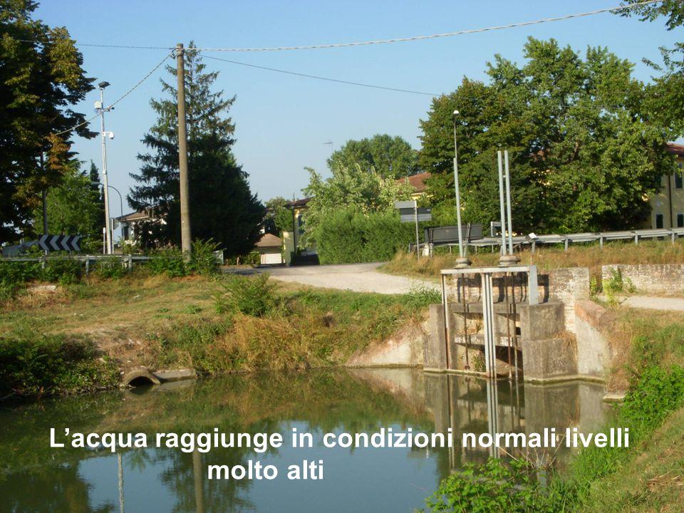 L'acqua raggiunge in condizioni normali livelli