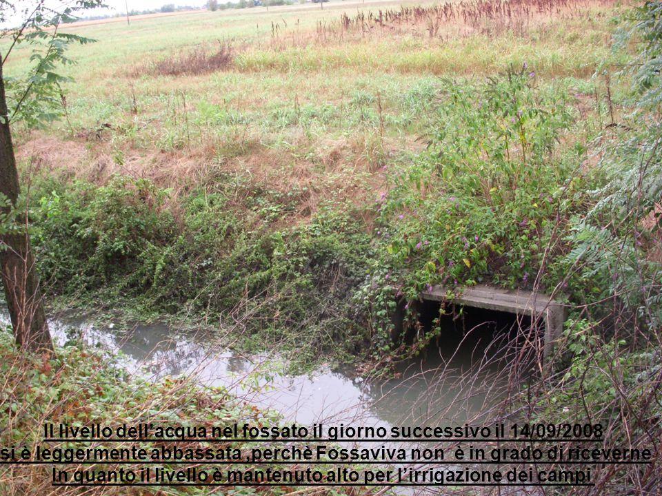 Il livello dell'acqua nel fossato il giorno successivo il 14/09/2008
