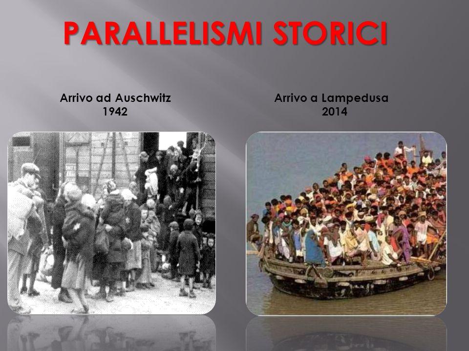 PARALLELISMI STORICI Arrivo ad Auschwitz 1942 Arrivo a Lampedusa 2014