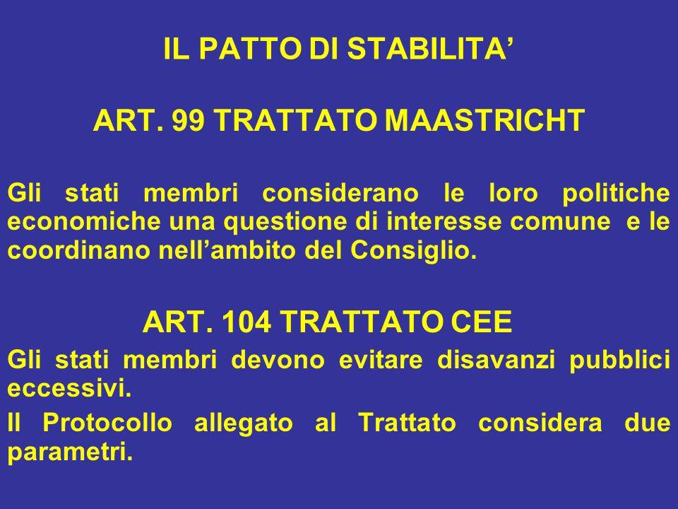 ART. 99 TRATTATO MAASTRICHT