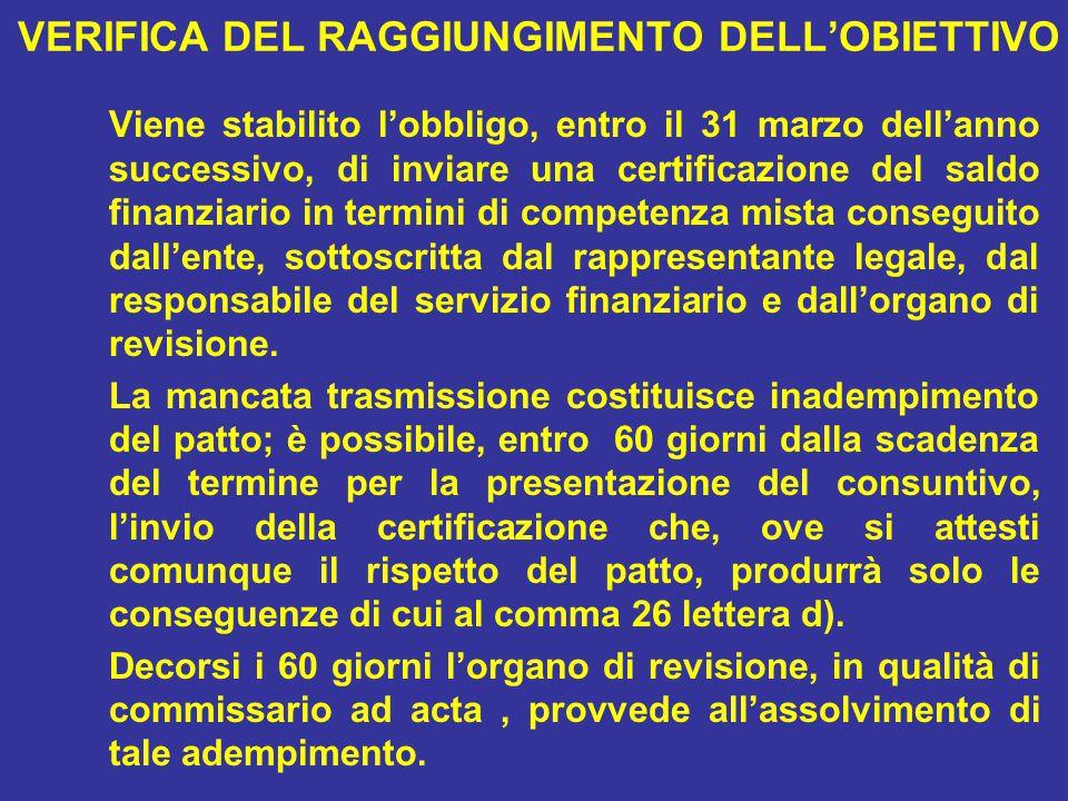 VERIFICA DEL RAGGIUNGIMENTO DELL'OBIETTIVO