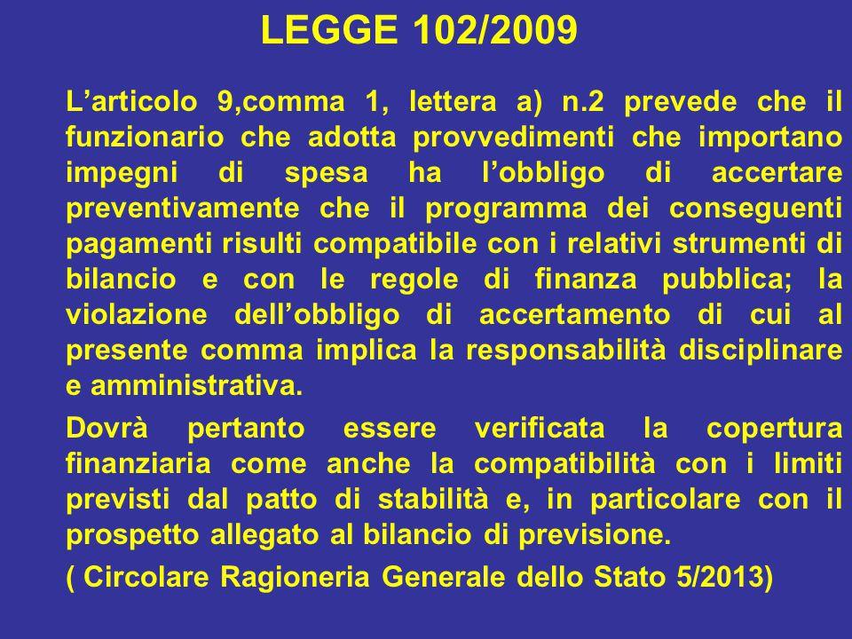 LEGGE 102/2009