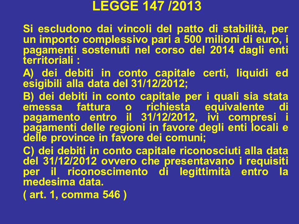 LEGGE 147 /2013