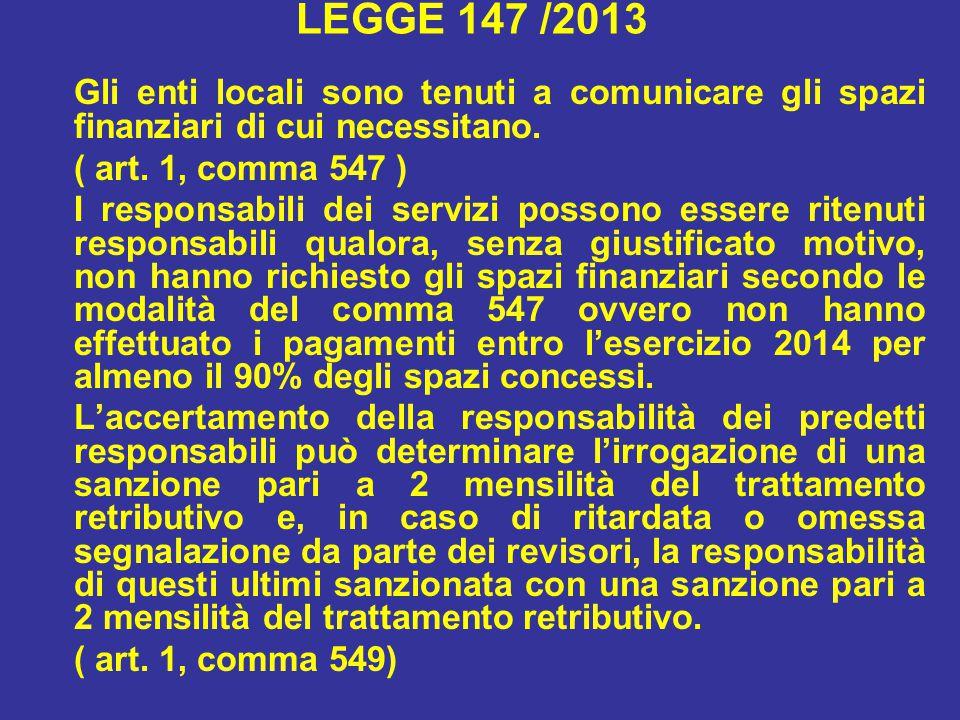 LEGGE 147 /2013 Gli enti locali sono tenuti a comunicare gli spazi finanziari di cui necessitano. ( art. 1, comma 547 )