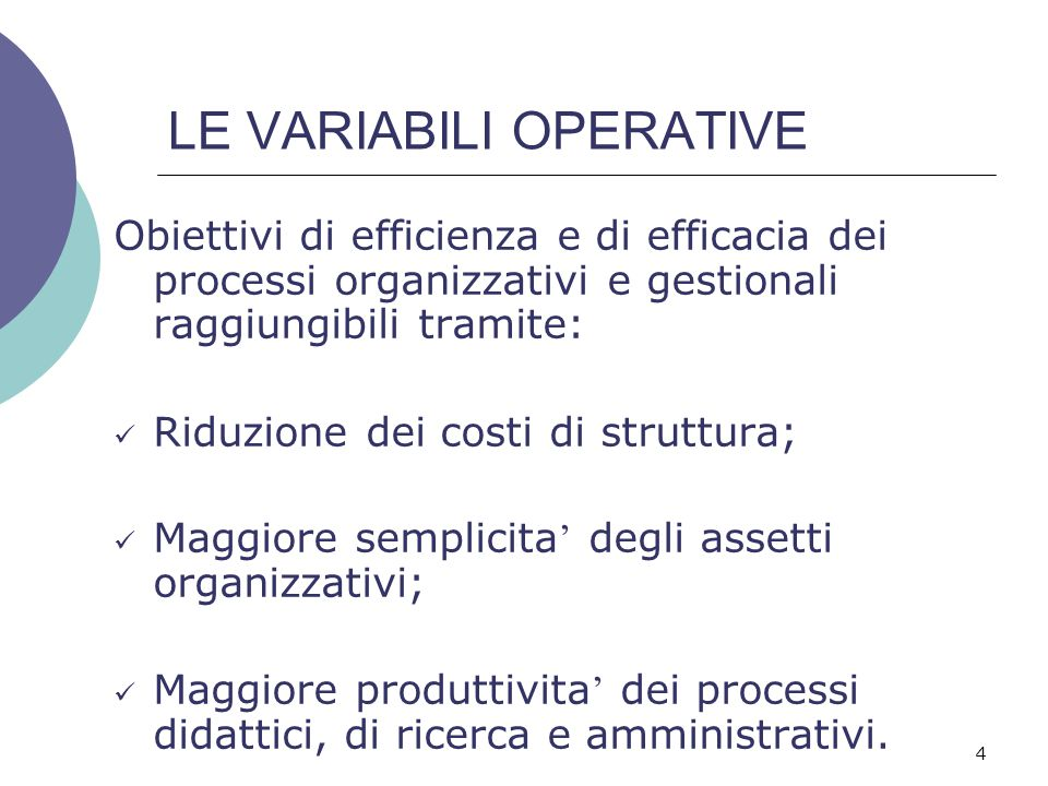 LE VARIABILI OPERATIVE