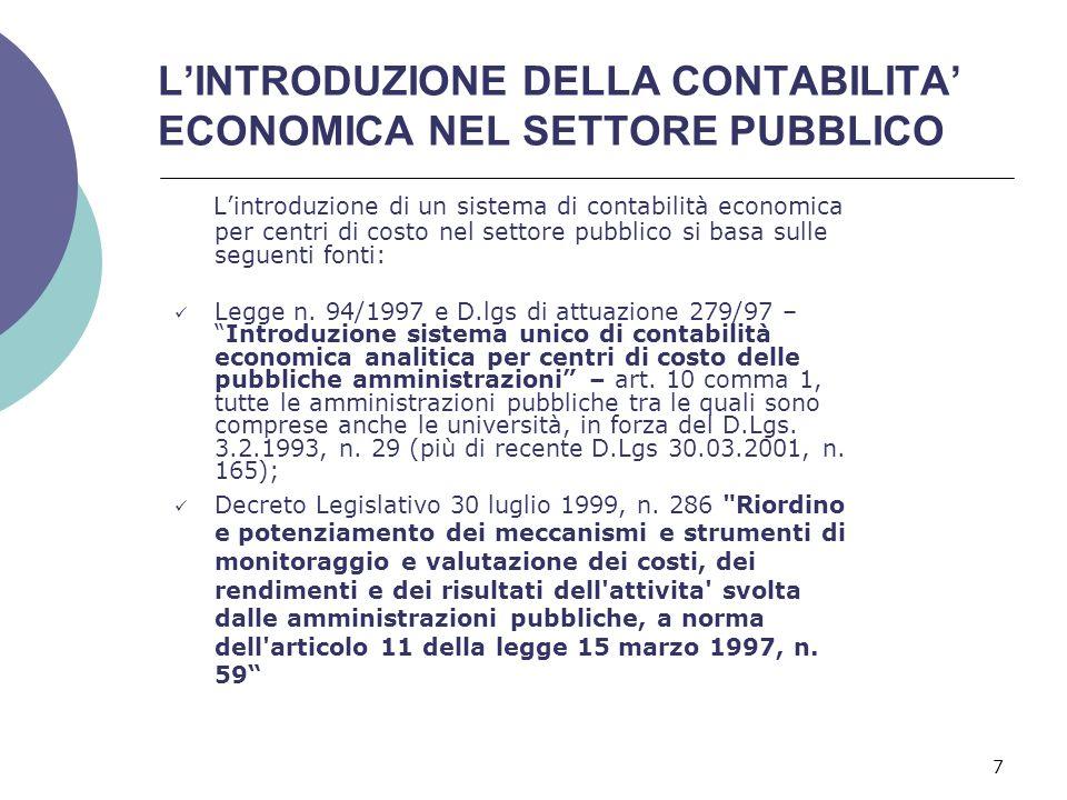 L'INTRODUZIONE DELLA CONTABILITA' ECONOMICA NEL SETTORE PUBBLICO