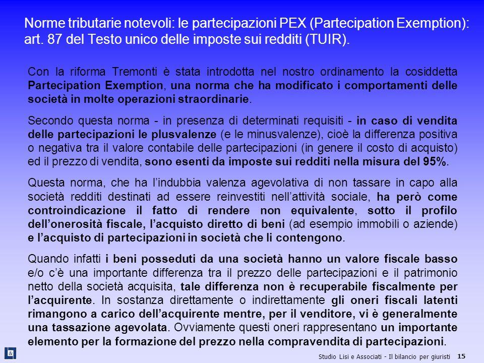 Norme tributarie notevoli: le partecipazioni PEX (Partecipation Exemption): art. 87 del Testo unico delle imposte sui redditi (TUIR).
